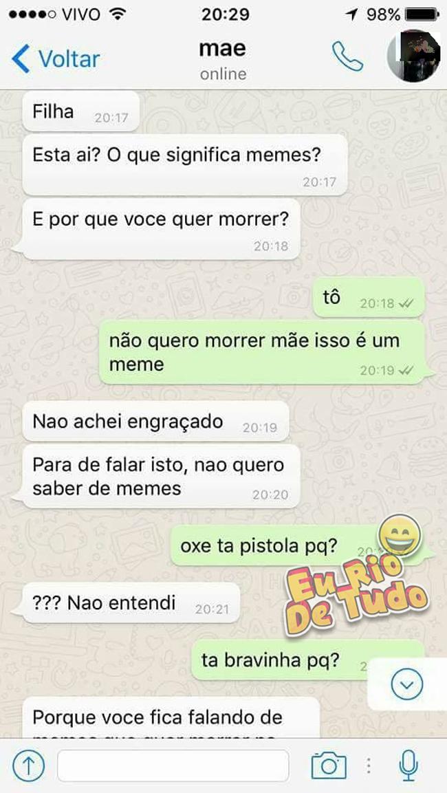 Conversa hilária entre mãe e filha no Whatsapp