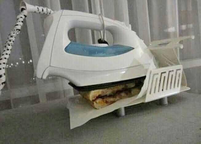 fazendo sanduíche com ferro de passar