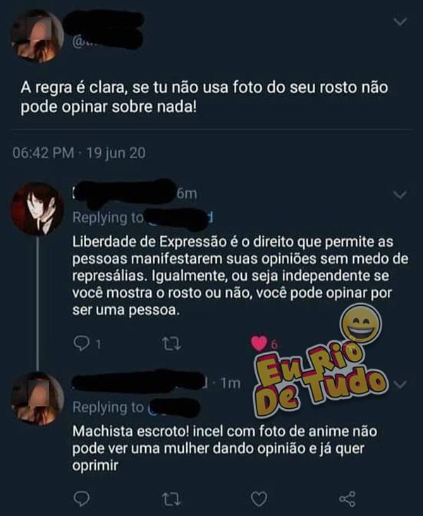postagem do twitter mostrando usuários discutindo sobre machismo e outras militâncias