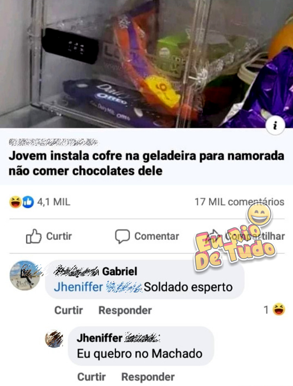 postagem de jovem que instalou cofre na geladeira pra namorada não comer chocolates dele